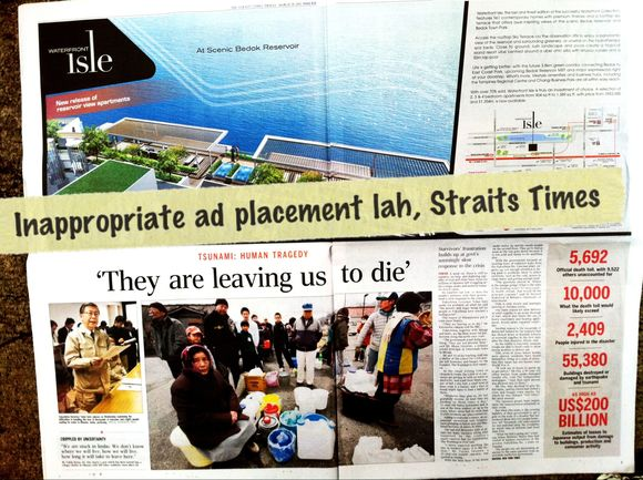 mrbrown.com: STRAITS TIMES ad placement gone wrong. So wrong.