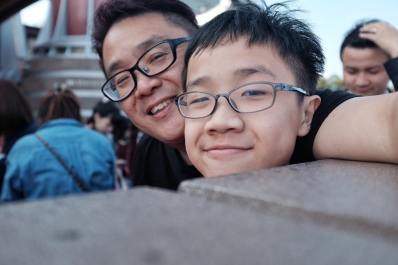 Son and I in DisneySea Japan, X100T selfie