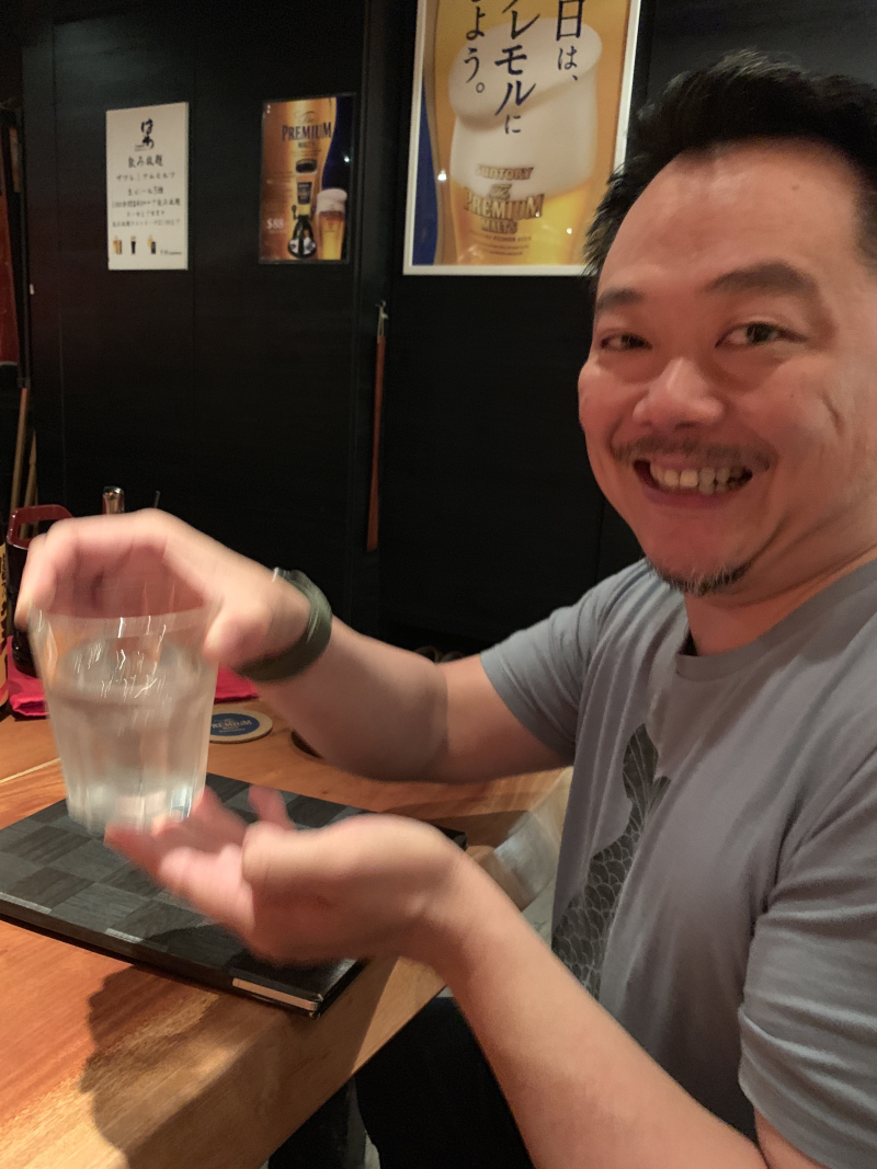 Mr Miyagi donates a bottle of Shochu to the cause.